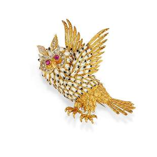 A 18K yellow gold, enamel and diamond brooch, circa