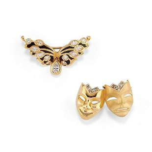 Two 18K yellow gold, enamel and diamonds brooches