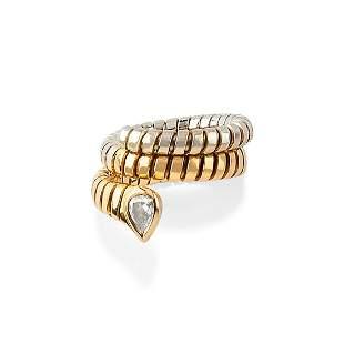 A 18K yellow gold and diamond ring, signed Bulgari