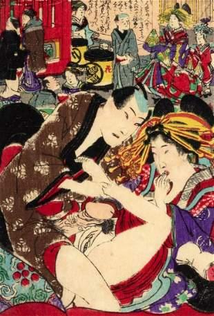 Shunga print depicting an erotic scene, Japan Meiji