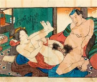 Shunga print, depicting an erotic scene, Japan Meiji