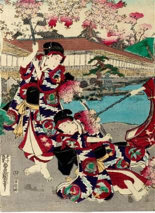 Print depicting women in a garden, Japan Meiji period