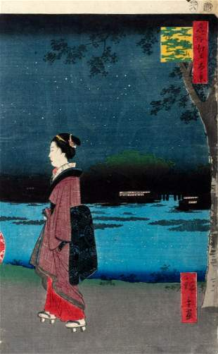 Hiroshige - Print depicting a woman walking on the bank