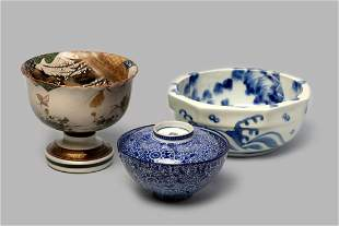 Lot of three porcelain bowls, Japan 19th-20th centuries
