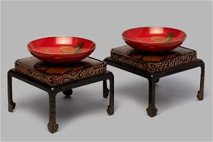 Pair of sake cups for wedding, in red and gold lacquer,