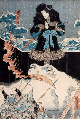 Print depicting battle scene with Samurai and big frog,