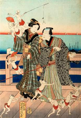 Yoshiiku - Print depicting figures on a jetty, Japan