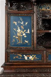 Shibayama cabinet decorated with blue lacquer panels