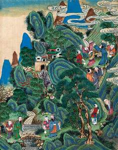 Painting on silk depicting a landscape with figures,