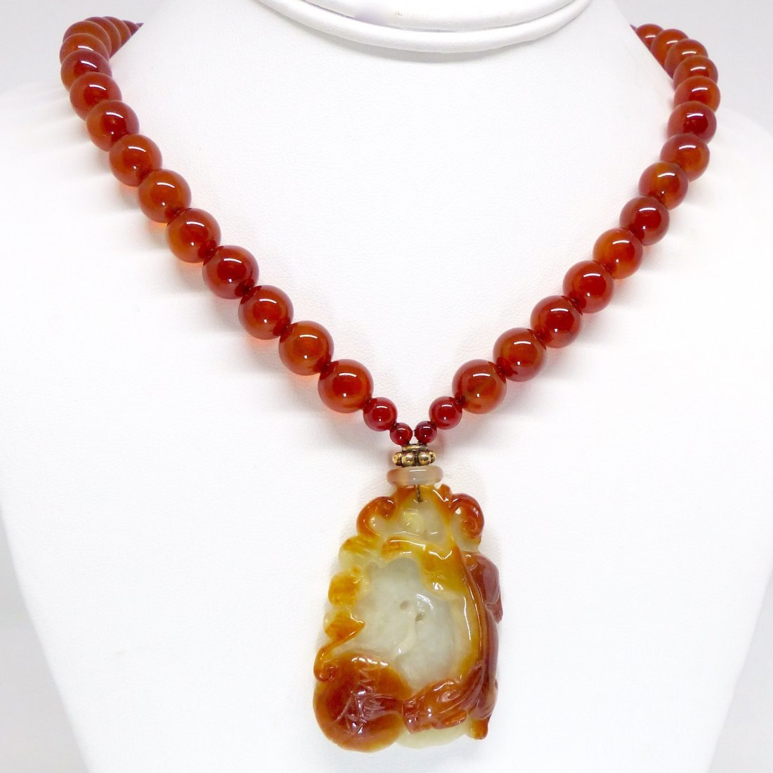 Carved Red Jade Dragon And Bat with Carnelian Necklace