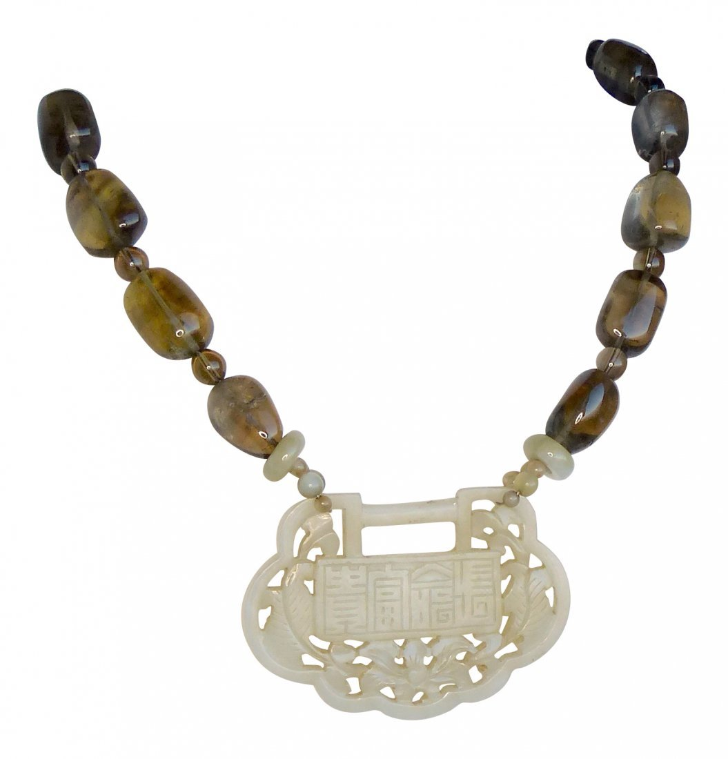 Antique Jade Chinese Lock with Smokey Quartz Necklace