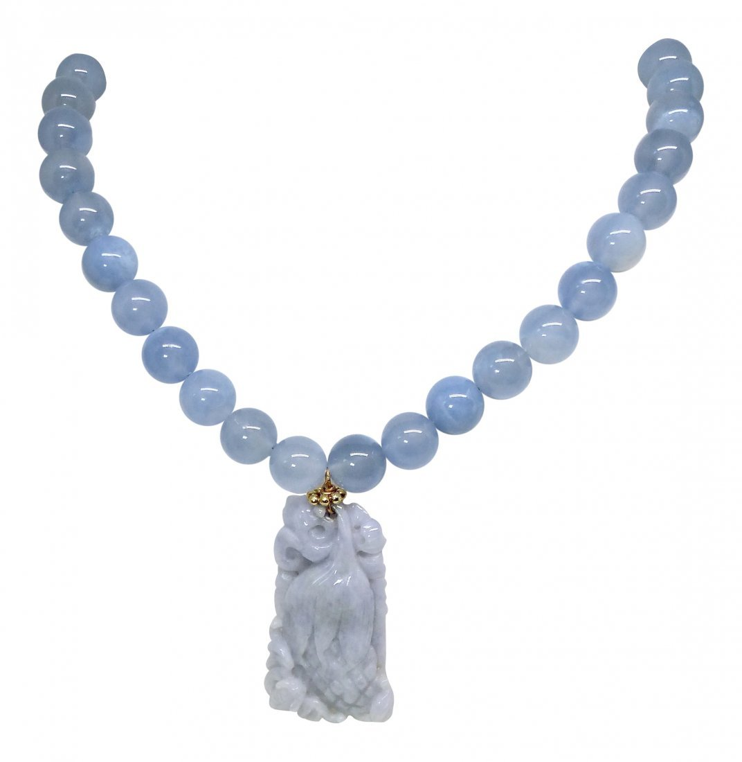 Carved Blue Jade Hands of Buddha and Bat with Blue
