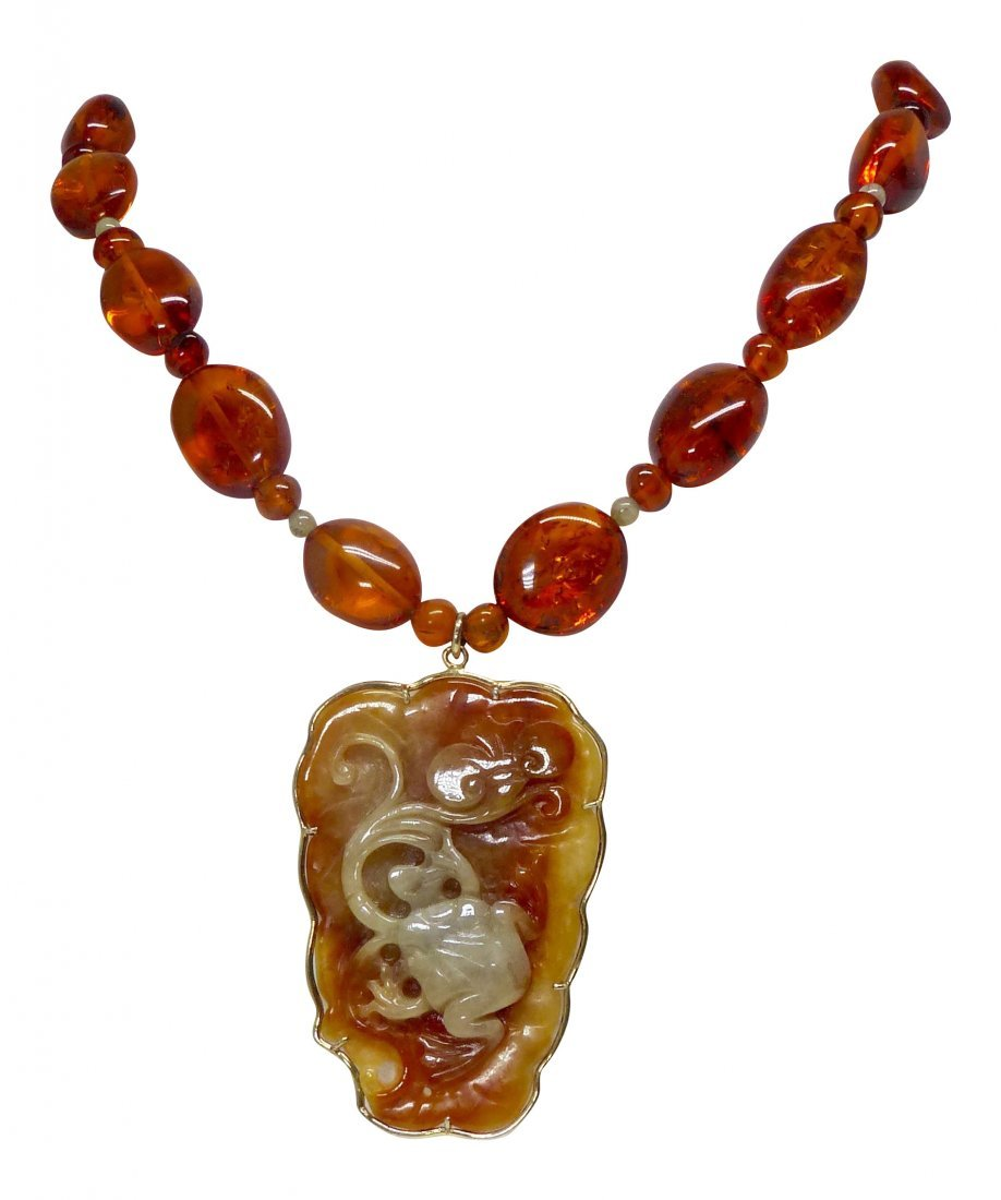 Carved Golden Orange Jade Frog and Lotus with Baltic