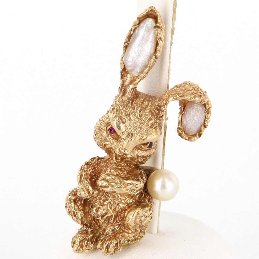 Ruser 14K Yellow Gold Ruby Cultured Pearl Rabbit Brooch