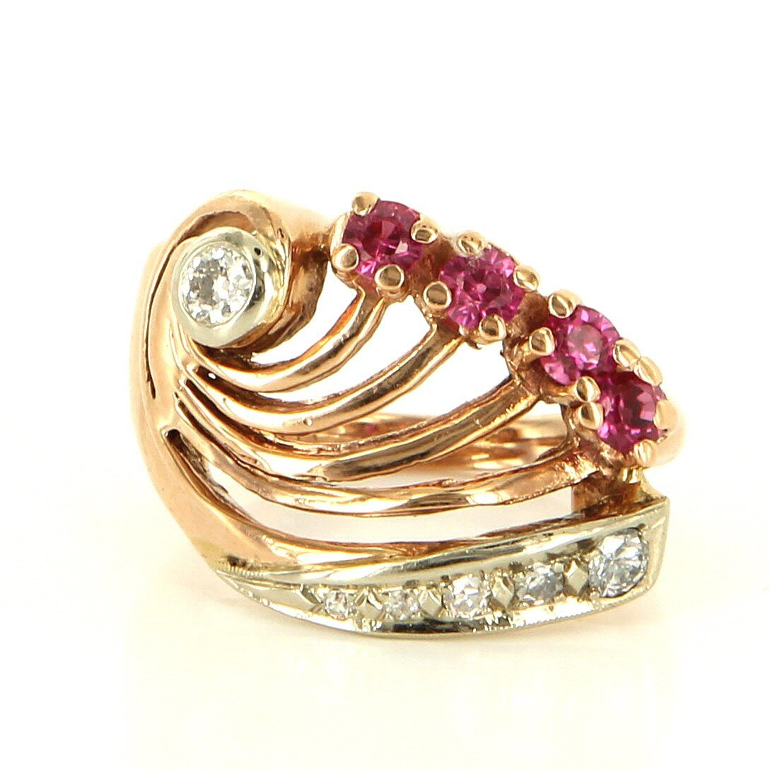 Deco Retro 14 K Rose Gold Diamond Ruby Cocktail Ring