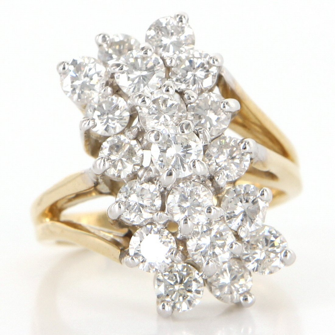 14 K Yellow Gold 2 Carat Diamond Cocktail Ring   Je