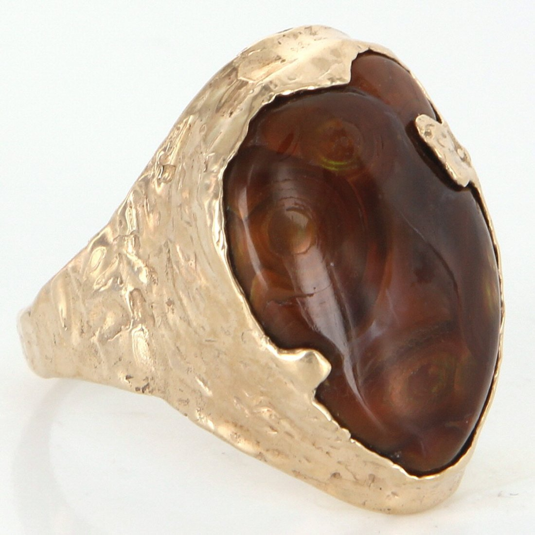 14K Gold Fire Agate Handmade Mens Cocktail Ring