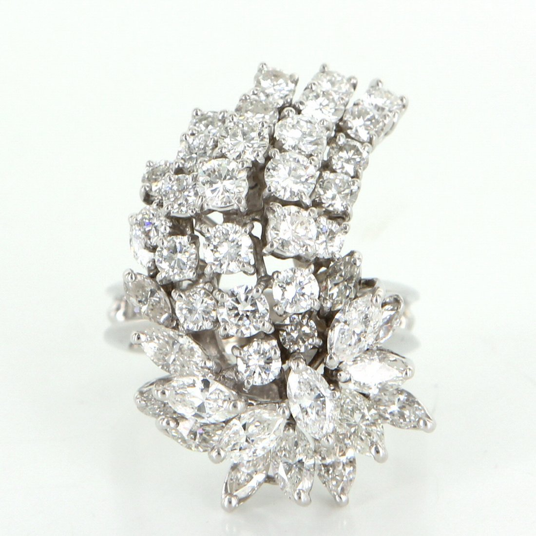 3.52ct Diamond Cluster Cocktail Ring 14k White Gold