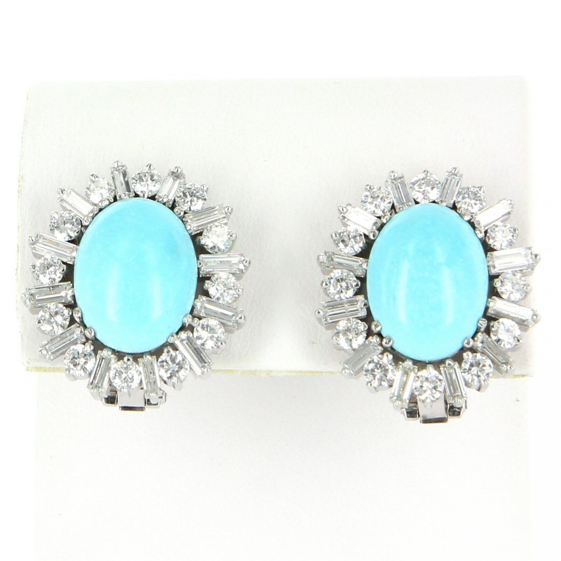 Turquoise 3.90ct Diamond Cocktail Earrings 18k White