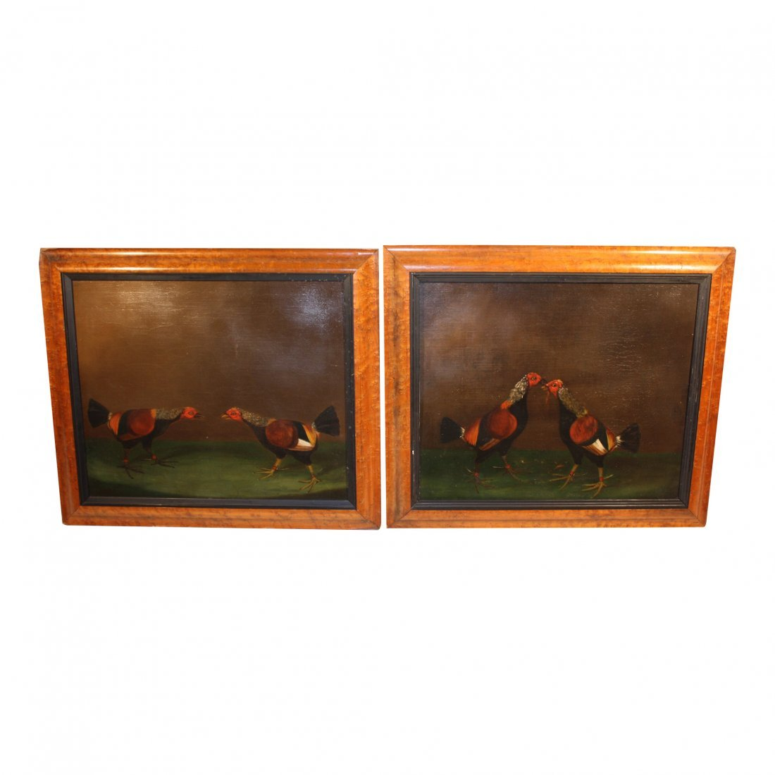 Pair of Oil Paintings, Fighting Cocks