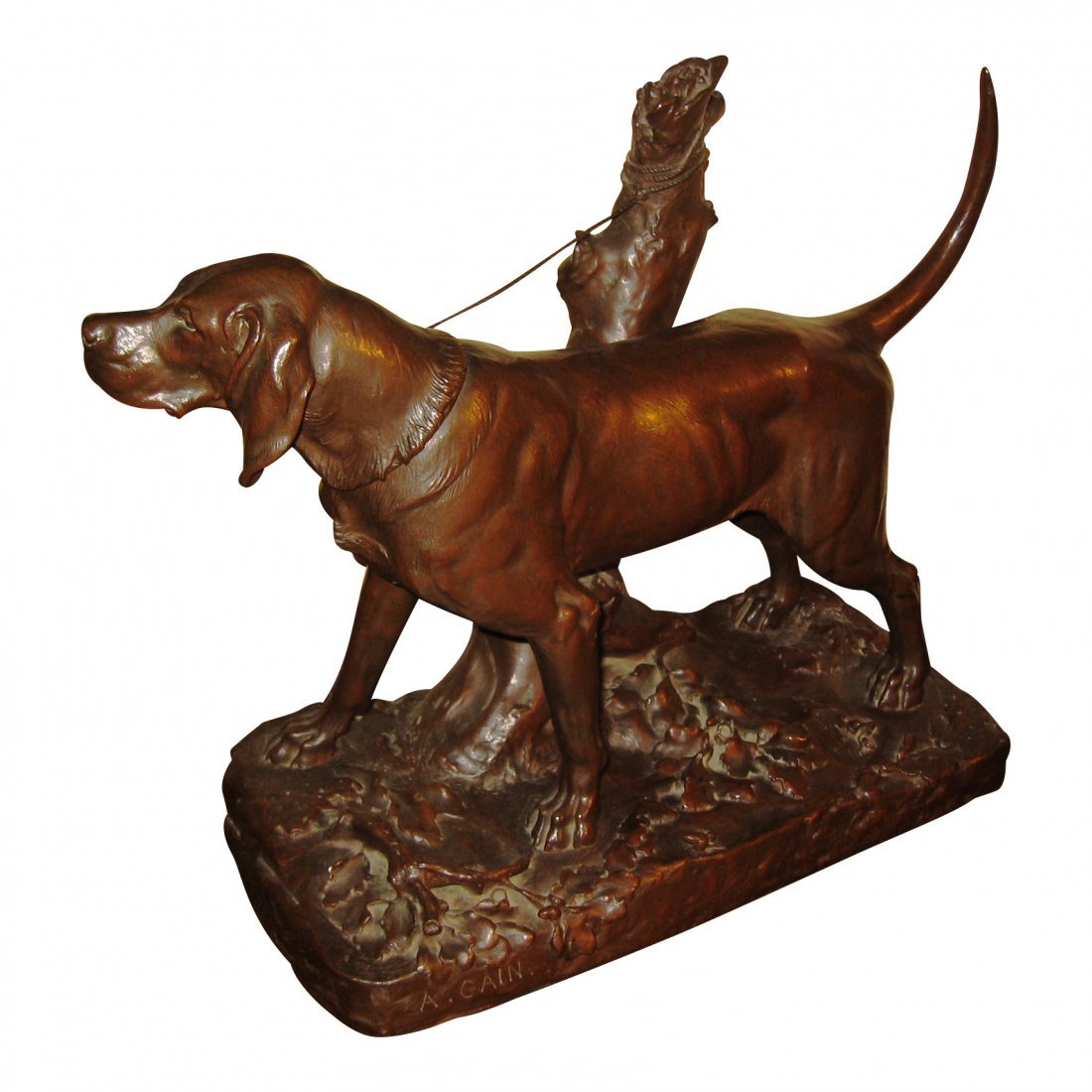 French Bronze Of Dog, Augustus Cain