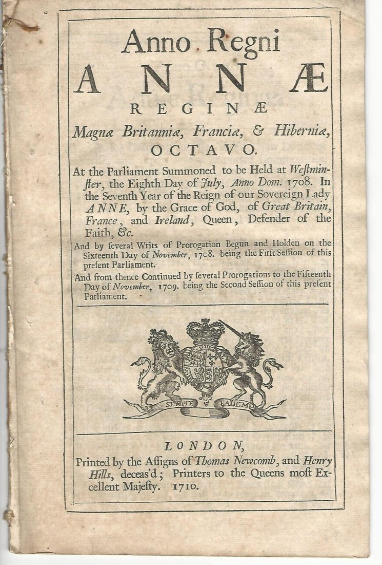 1710 English Act Reign of Queen Anne