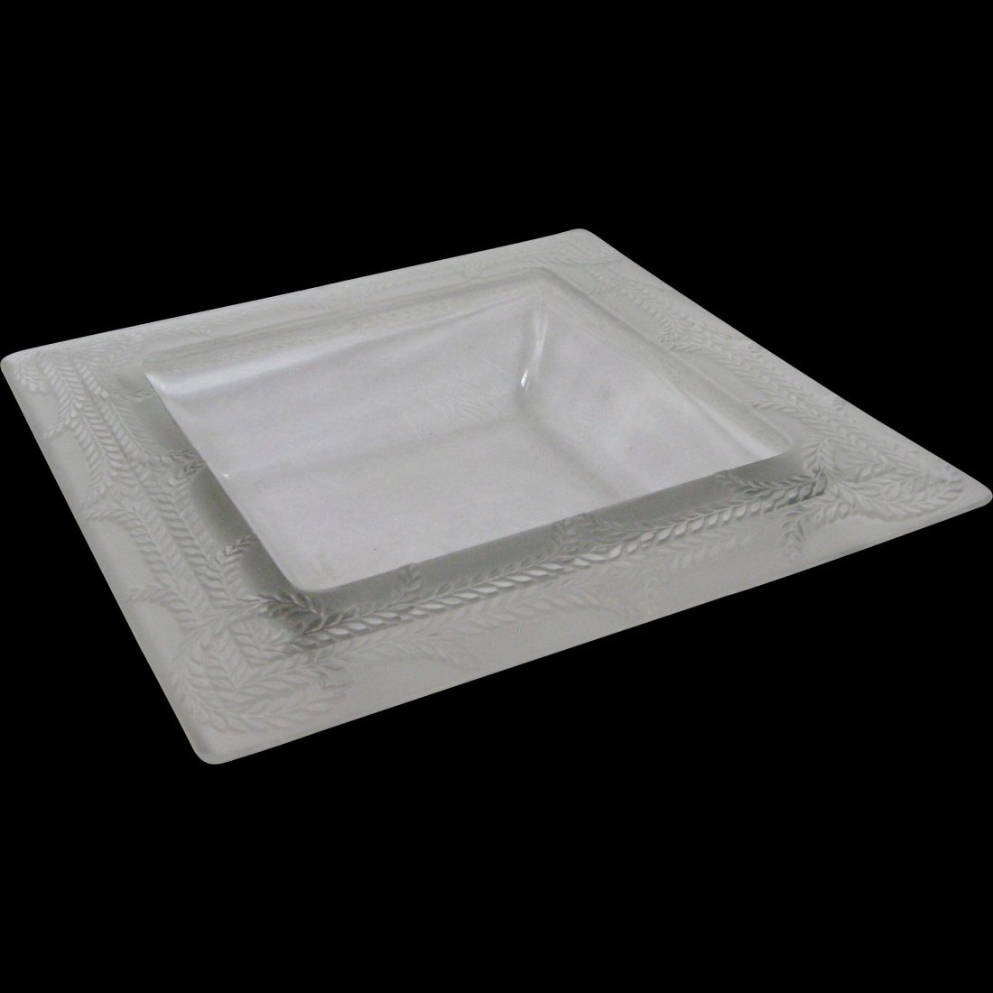 Rene Lalique Rameaux Coupe Carre Frosted Square Bowl