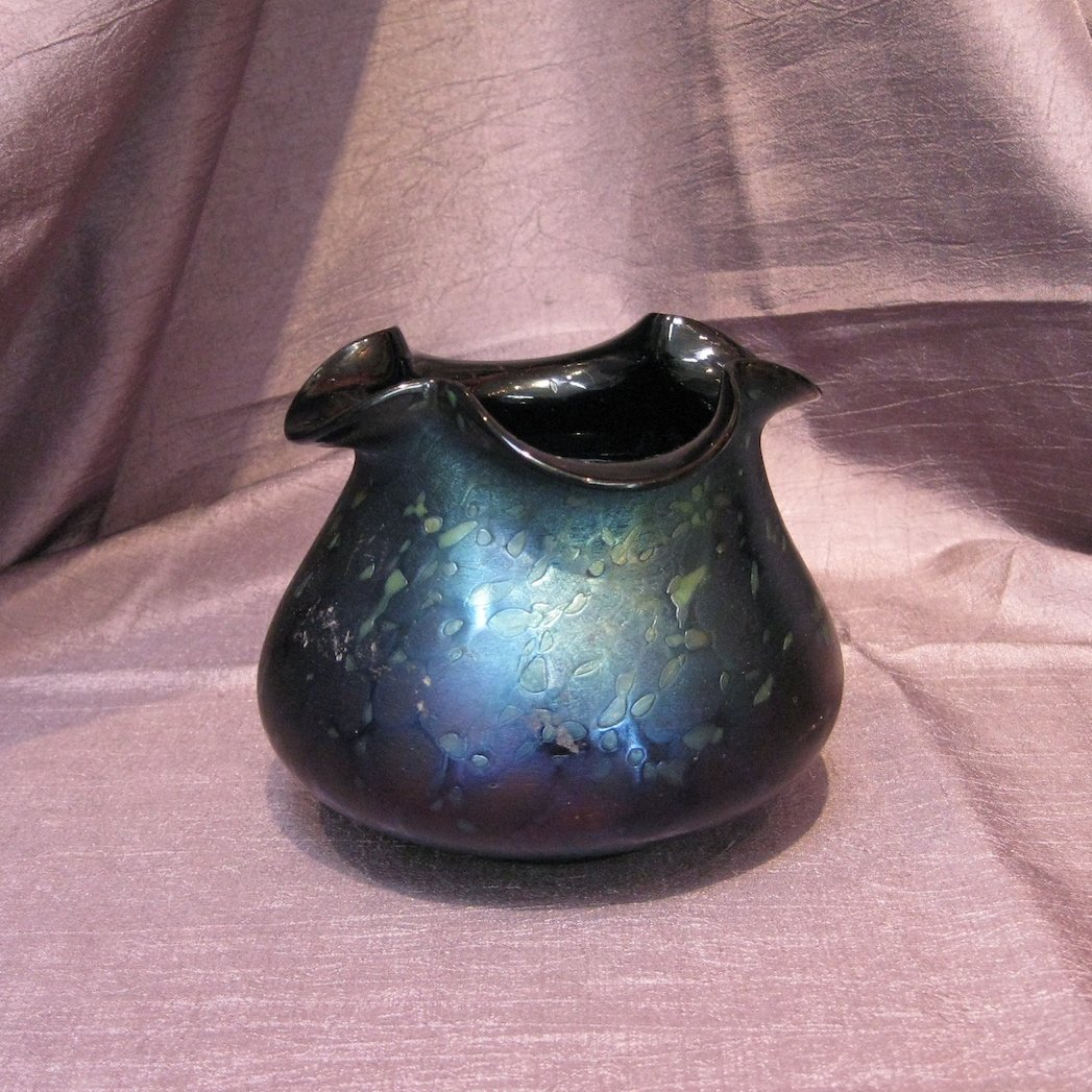 "Rindskopf ""Splash"" Deep Purple Bohemian Art Glass Vase"