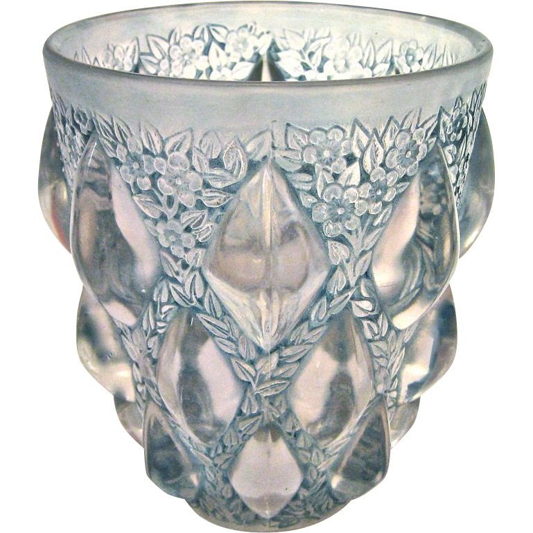 """R. Lalique """"Rampillion"""" Vase with Blue Green Patina"""