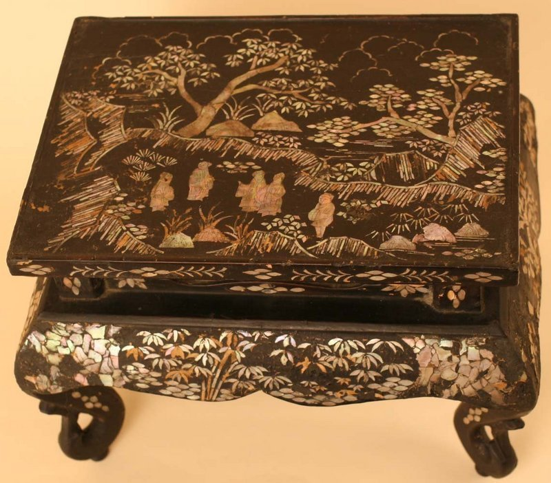 Inlaid Mother of Pearl in Black Lacquer Small Table
