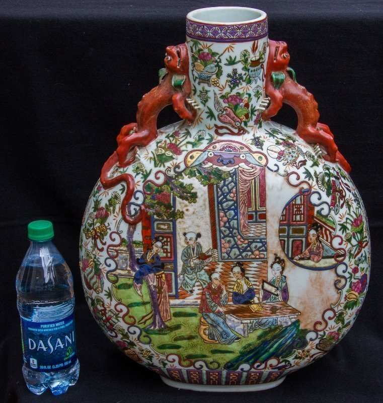 Large Canton Ware enameled Moon Flask Dragon with