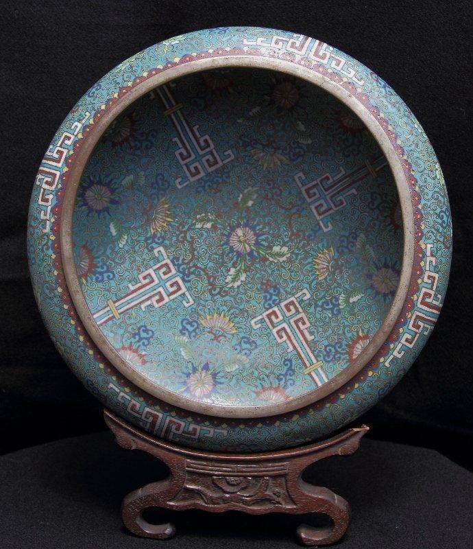 Rare exquisite Qianlong cloisonné and Paktong bowl