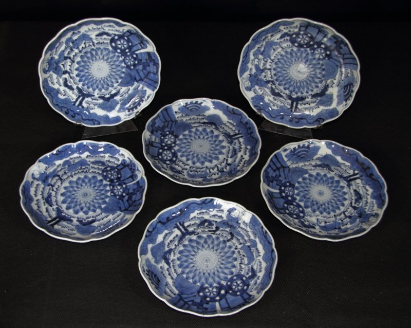 are set of six Camel & Barbarian Imari blue and white