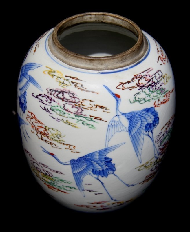 Well signed Hirado style jar with red caped storks