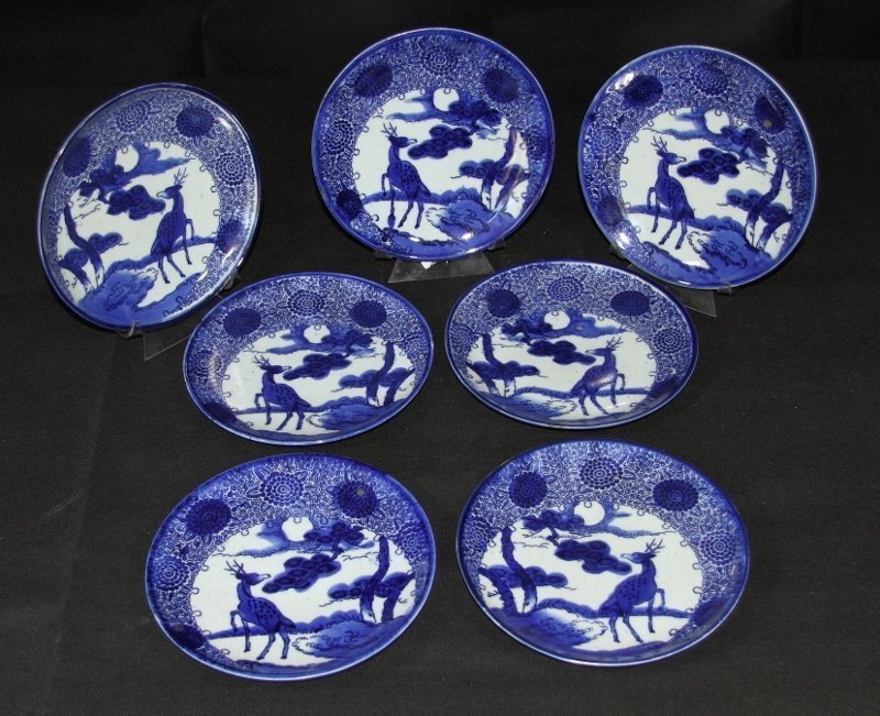 Set of 7 Early Hand Painted and Stenciled Imari Plates