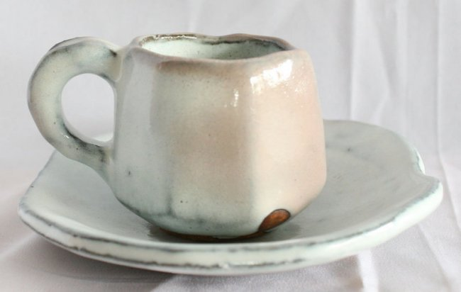 Kaneta Masanao Hagi Ware Coffee Cup and Saucer with
