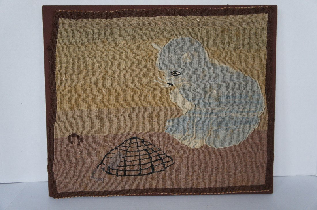 Early cat hooked mat rug