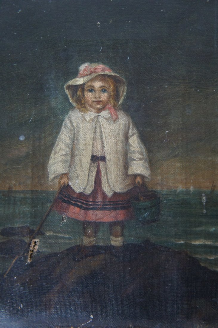 Antique oil painting of little girl 1860's