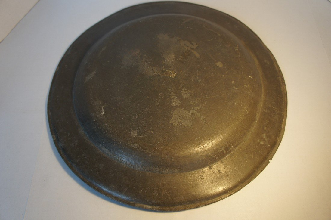"16 1/2"" antique pewter charger early 1800's"
