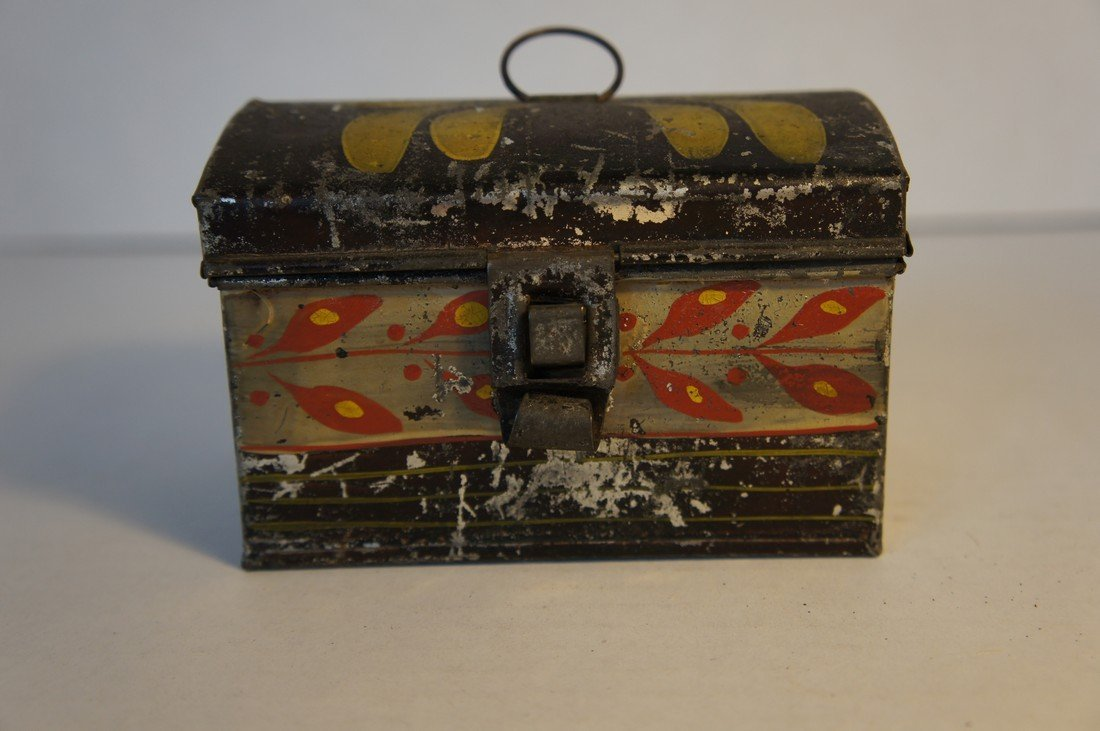 Tole country painted tin very small box