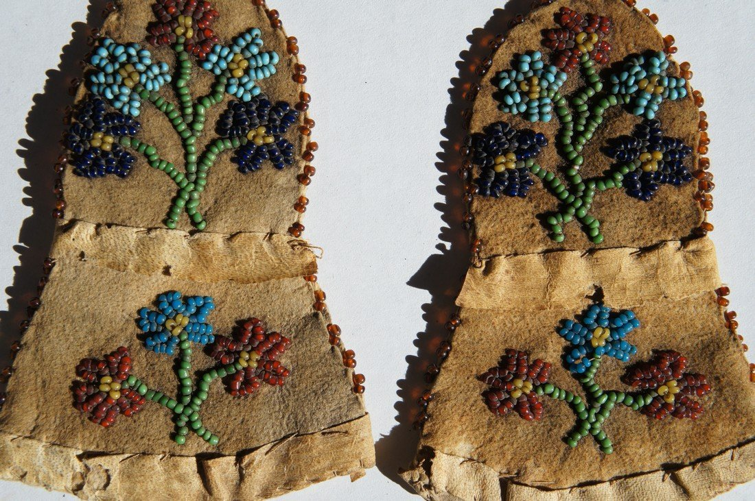 Native American beaded baby mittens 1860-80's antique