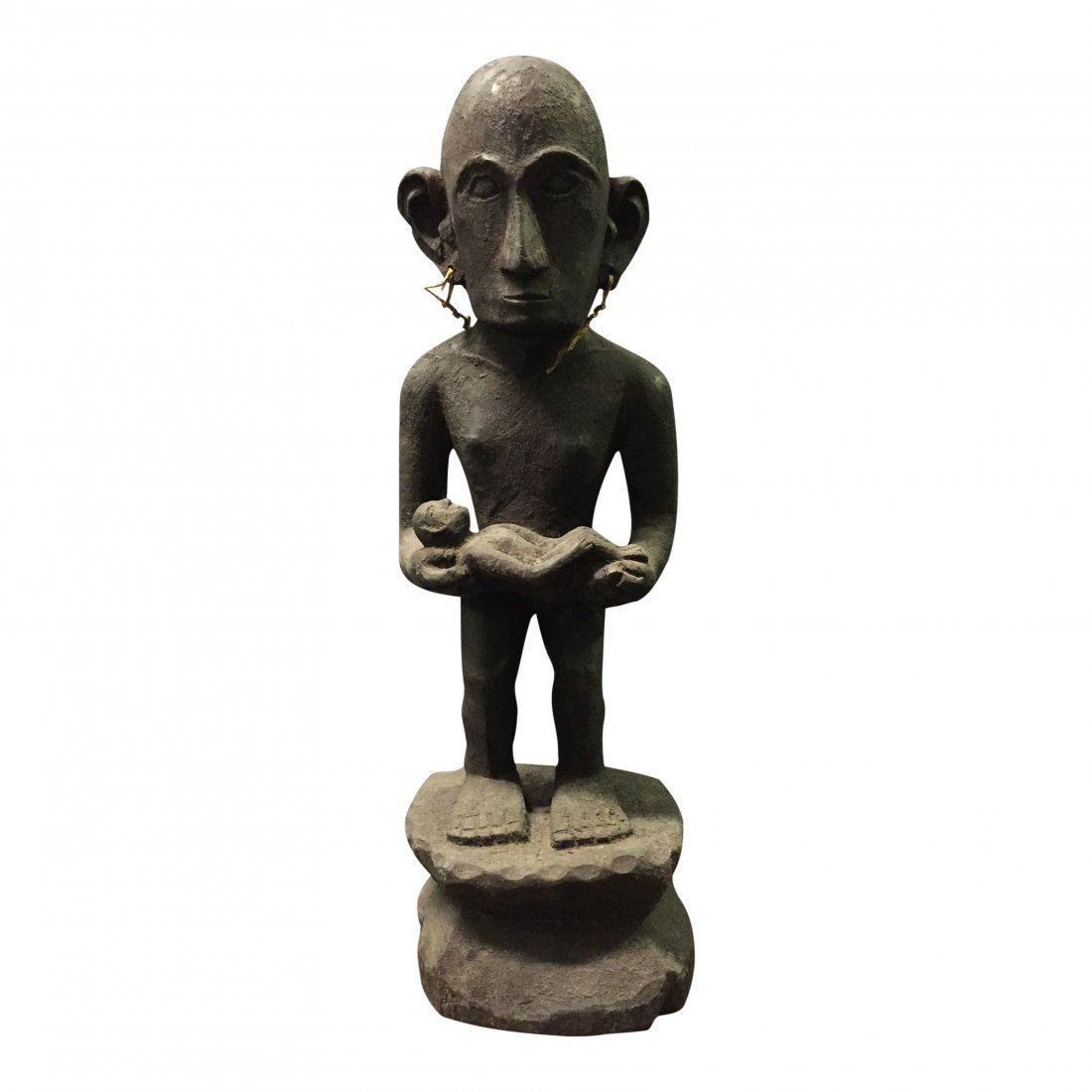 19th Century Standing bulul rice god holding a baby