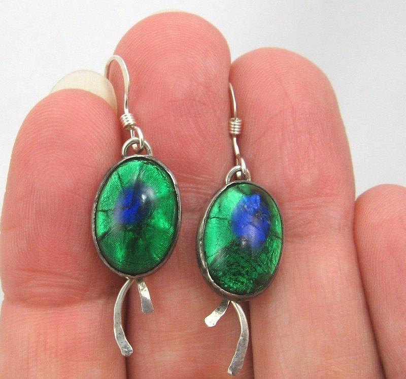 Peacock Glass Earrings in Sterling Silver