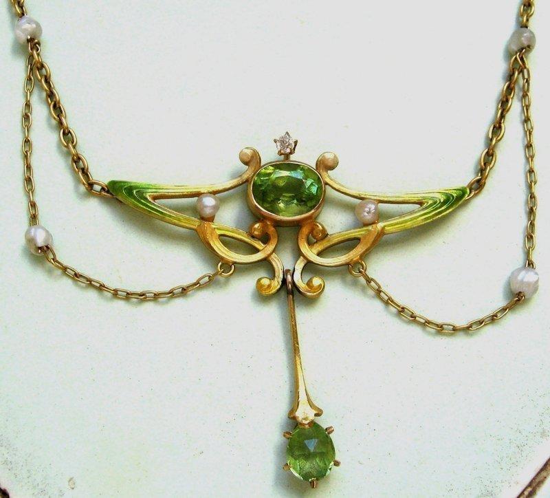 Peridot Enamel Garland Necklace – Book Piece!