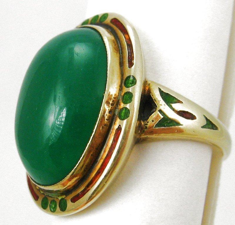 Deco Chalcedony Enamel 14k Ring