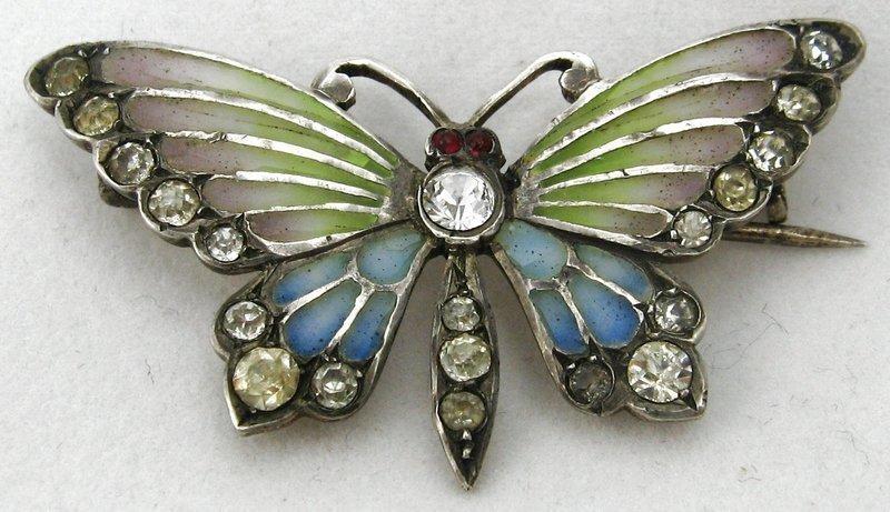 Plique a Jour Silver Butterfly