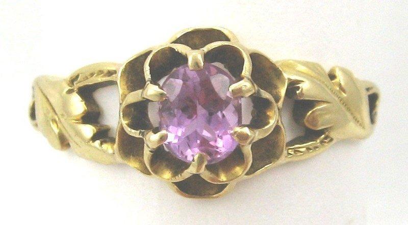 Art Nouveau 18k Topaz Ring, Leaf Motif