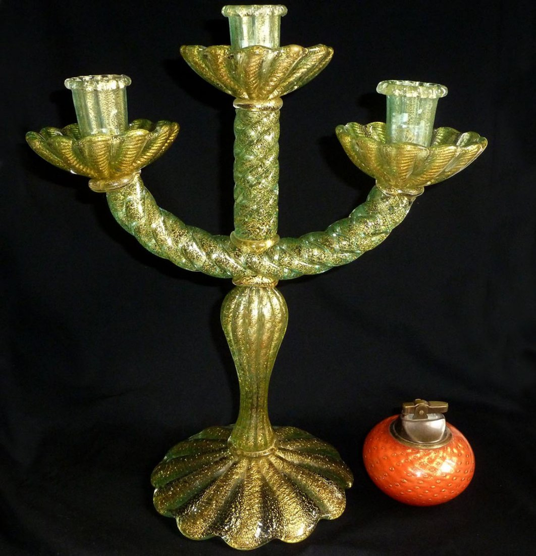 Barovier Toso Murano Gold Flecks Candlestick