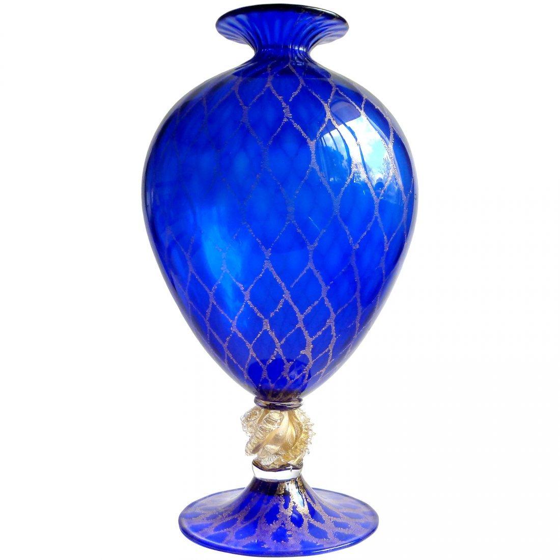 Nason Murano Sapphire Gold Flecks Flower Vase