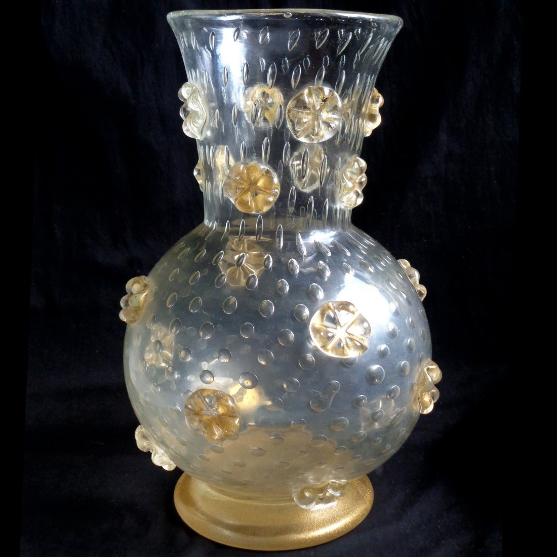 Ercole Barovier Murano A Stelle Gold Stars Flower Vase